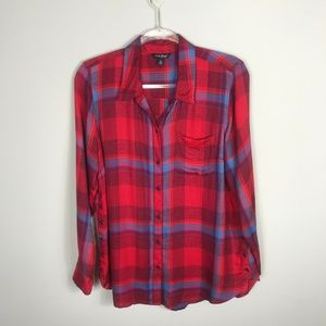 Lucky Brand Red Blue Flannel Plaid Buttons Shirt